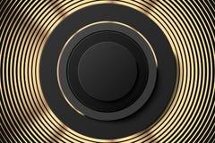 Manifesto o insegna nero dorato astratto Anelli dorati ed insegna nera del bottone Fondo astratto dell'oro con fatto un passo royalty illustrazione gratis