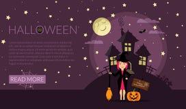 Manifesto o modello dell'insegna per il sito Web Invito del partito di Halloween Illustrazione di vettore Posto per il vostro mes Fotografia Stock Libera da Diritti