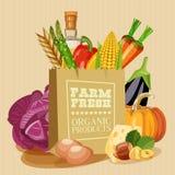 Manifesto organico fresco dell'azienda agricola Illustrazione di vettore Immagini Stock