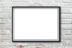 Manifesto orizzontale in bianco della pittura nel telaio nero Fotografie Stock Libere da Diritti
