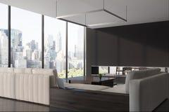 Manifesto panoramico del salone, sofà, lato illustrazione di stock