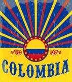 Manifesto patriottico d'annata della Colombia Fotografia Stock