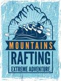 Manifesto per il club di sport estremo Illustrazione monocromatica del rafting Canoa o kajak sul mare royalty illustrazione gratis