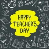 Manifesto per il giorno nazionale del ` s dell'insegnante Cartolina d'auguri Illustrazione di vettore sulla lavagna Fotografie Stock