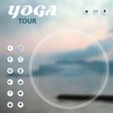 Manifesto per il giro di yoga, viaggio, viaggio, vacanza su un fondo della natura Immagini Stock Libere da Diritti