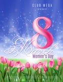Manifesto per il partito di giorno del ` s delle donne Bello manifesto con la radura dei tulipani Illustrazione di vettore con fo illustrazione vettoriale