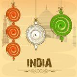 Manifesto per la celebrazione indiana di giorno della Repubblica e di festa dell'indipendenza Immagini Stock