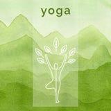 Manifesto per la classe di yoga Priorità bassa dell'acquerello Immagini Stock Libere da Diritti