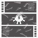 Manifesto per la presentazione del deposito musicale disegno pubblicitario nello stile di musica con la lavagna per appunti per l Fotografia Stock