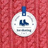 Manifesto per un'attività di inverno Pattinaggio su ghiaccio come piacere di inverno Fotografia Stock Libera da Diritti