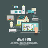 Manifesto piano dell'icona dello iot della casa intelligente Immagini Stock Libere da Diritti