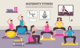 Manifesto piano della classe di maternità di forma fisica illustrazione di stock