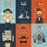 Manifesto piano della composizione nelle icone dei pantaloni a vita bassa illustrazione di stock