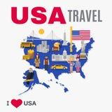 Manifesto piano della cultura di U.S.A. dell'agenzia di viaggio intorno al mondo Immagini Stock Libere da Diritti