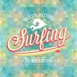 Manifesto praticante il surfing Fotografia Stock