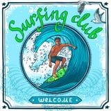 Manifesto praticante il surfing Immagine Stock