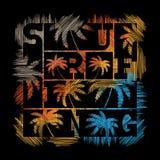 Manifesto praticante il surfing di tipografia Progettazione di modo della maglietta Fotografia Stock Libera da Diritti