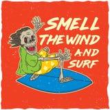 Manifesto praticante il surfing originale Fotografie Stock