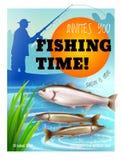 Manifesto realistico di apertura di stagione della pesca royalty illustrazione gratis