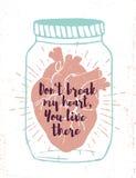Manifesto romantico con cuore umano in un barattolo Fotografia Stock