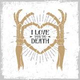 Manifesto romantico con le mani di scheletro che formano un cuore Fotografie Stock Libere da Diritti