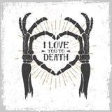 Manifesto romantico con le mani di scheletro che formano un cuore Immagine Stock Libera da Diritti