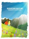Manifesto romantico del fondo della natura del paesaggio della montagna Immagine Stock