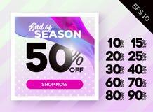 Manifesto romantico di vendita della primavera con la Polka Dot Lavender Background a Illustrazione di Stock
