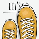 Manifesto Sportingly variopinto per annunciare le scarpe di sport forward Vettore royalty illustrazione gratis