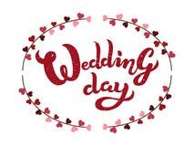 Manifesto strutturato dell'iscrizione di tipografia di giorno delle nozze disegnato a mano Immagine Stock Libera da Diritti