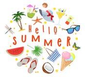 Manifesto sull'argomento delle vacanze estive Riunione dell'estate Illustrazione di vettore Immagini Stock
