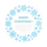 Manifesto sveglio del fiocco di neve, insegna Saluti di stagione Icone piane della neve, precipitazioni nevose Fiocchi di neve pi illustrazione di stock