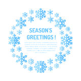 Manifesto sveglio del fiocco di neve, insegna Saluti di stagioni Icone piane della neve, precipitazioni nevose Modello piacevole  illustrazione di stock
