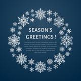 Manifesto sveglio del fiocco di neve, insegna Saluti di stagioni Icone piane della neve, precipitazioni nevose Modello piacevole  Fotografia Stock