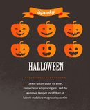 Manifesto sveglio di Halloween con le zucche Fotografia Stock Libera da Diritti
