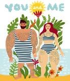 Manifesto tatuato del fumetto delle coppie royalty illustrazione gratis