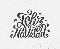 Manifesto tipografico d'annata di vettore di Feliz Navidad Fotografia Stock Libera da Diritti