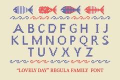 Manifesto trasversale di carattere di alfabeto del punto Buona idea per estate, festa, manifesti commemorativi di festa dell'indi illustrazione di stock