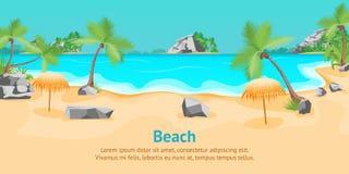 Manifesto tropicale della carta del paesaggio di estate della spiaggia del fumetto Vettore Immagine Stock