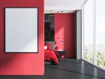 Camera Da Letto Rossa E Grigia : Manifesto in un interno rosso e grigio della camera da letto