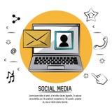 Manifesto variopinto dei media sociali con il computer portatile con il profilo dell'immagine sullo schermo e la posta nel cerchi Immagini Stock