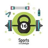 Manifesto variopinto dello stile di vita di sport con le icone di sollevamento pesi Fotografie Stock Libere da Diritti
