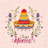 Manifesto variopinto di Viva Messico con il cappello messicano royalty illustrazione gratis