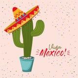Manifesto variopinto di Viva Messico della pianta del cactus con il cappello messicano illustrazione vettoriale