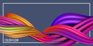 Manifesto variopinto moderno di flusso Forma liquida di Wave nel fondo blu di colore Progettazione di arte per il vostro progetto royalty illustrazione gratis