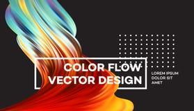 Manifesto variopinto moderno di flusso Forma liquida di Wave nel fondo nero di colore Progettazione di arte per il vostro progett illustrazione di stock