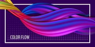 Manifesto variopinto moderno di flusso Forma liquida di Wave nel fondo porpora di colore Progettazione di arte per il vostro prog illustrazione vettoriale
