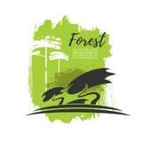 Manifesto verde di eco di vettore degli alberi forestali Fotografie Stock Libere da Diritti