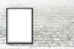 Manifesto verticale in bianco della pittura nel telaio nero Fotografia Stock