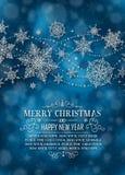 Manifesto verticale di Natale - illustrazione Natale blu scuro - ritratto lungo del testo Immagine Stock Libera da Diritti